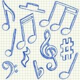 Garabatos de las notas musicales ilustración del vector