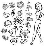 Garabatos de las verduras con la muchacha de Healty Fotografía de archivo