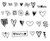 Garabatos de los corazones del día de tarjetas del día de San Valentín fijados ilustración del vector