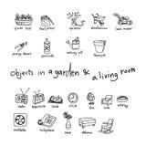 Garabatos de objetos en jardín y sala de estar Fotografía de archivo