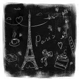 Garabatos de París en la pizarra Foto de archivo libre de regalías