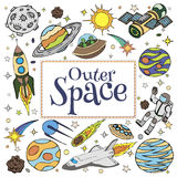 Garabatos del espacio exterior, símbolos y elementos del diseño Imagen de archivo libre de regalías