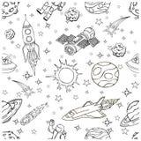 Garabatos del espacio exterior, símbolos y elementos del diseño Foto de archivo