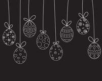 Garabatos del huevo de Pascua de la ejecución en fondo negro