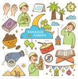 Garabatos del kawaii del Ramadán stock de ilustración