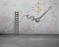 Garabatos del negocio y manos de reloj en la pared con la escalera Foto de archivo libre de regalías