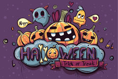 Garabatos dibujados mano coloreados de Halloween ilustración del vector