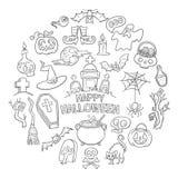Garabatos dibujados mano de Halloween Imagen de archivo libre de regalías