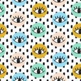 Garabatos dibujados mano del ojo del vector en círculos Imagen de archivo libre de regalías