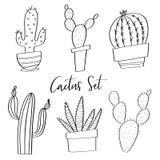 Garabatos dibujados mano del sistema del cactus del vector Foto de archivo libre de regalías