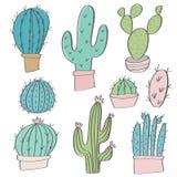 Garabatos dibujados mano del sistema del cactus del vector Fotos de archivo libres de regalías
