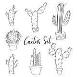Garabatos dibujados mano del sistema del cactus del vector Imagen de archivo libre de regalías