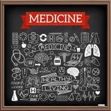Garabatos médicos en el tablero de tiza stock de ilustración