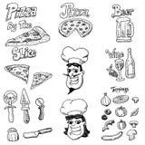 Garabatos a mano de la pizza Fotos de archivo libres de regalías