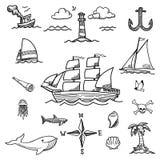 Garabatos a mano del barco y del mar Fotos de archivo libres de regalías