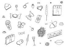 Garabatos y el poner letras el día de tarjeta del día de San Valentín Conjunto del Doodle Amor Vector ilustración del vector