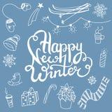Garabatos y letras de las asociaciones del invierno Foto de archivo libre de regalías