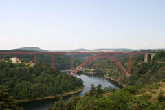 The Garabit Viaduct. (Viaduc de Garabit in French) is a railroad arch bridge spanning the Truyère river near Ruynes-en-Margeride, Cantal, France stock images