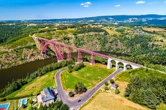 Garabit Viaduct, a railway bridge across the Truyere in France. Garabit Viaduct, a railway arch bridge constructed by Gustave Eiffel. Cantal, France stock images
