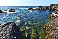 Garachico Natural pools in Tenerife Island Stock Photo