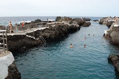 Garachico Natural pools in Tenerife Island stock photography