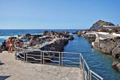 Garachico naturlig tips i den Tenerife ön Arkivbilder
