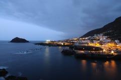 Garachico at night, Tenerife stock photo
