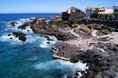Garachico rocky seaside town Stock Photos