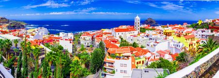 Garachico, Tenerife, Canary islands, Spain: Overview  of the colorful and beautiful town of Garachico stock photos
