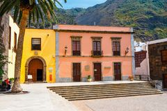 Famous San Francisco traditional church in the main square of Garachico town of Tenerif royalty free stock images