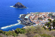 Garachico town viewscape on the coast of Tenerife stock photography