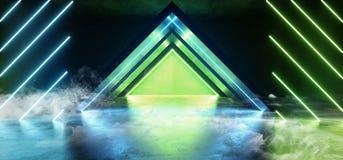 Garage étranger vert bleu vibrant futuriste de fond de Sci fi de triangle de lampes au néon de fumée de couloir de vaisseau spati illustration libre de droits