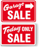 Garage arrow Today ONLY SALE sign. Garage arrow Today ONLY SALE red signs drop shadow or white border Stock Photography