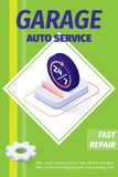 Garage Auto Service Offering Fast Repair Poster. Advertising Poster for Garage Auto Service Offering Fast Repair. Text and Lettering Cover with Isometric Sign stock illustration
