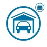 Garage avec l'icône de voiture Photographie stock libre de droits