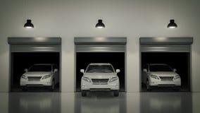Garage avec la porte ouverte de rouleau rendu 3d Images libres de droits