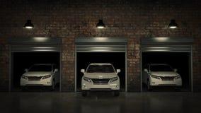 Garage avec la porte ouverte de rouleau rendu 3d Photos stock