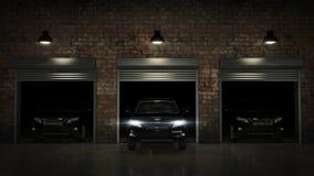 Garage avec la porte ouverte de rouleau rendu 3d Images stock