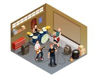 Garage Band Isometric Composition. With rock musicians and instruments including singer with microphone, drummer, guitarists vector illustration Royalty Free Stock Photos