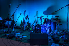 Garage band stage. Picture of a stage with band equipment Royalty Free Stock Images