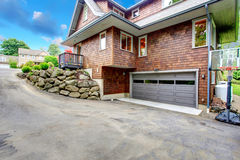 Garage with basketball court Stock Images