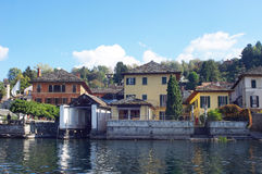 Garage for boats in town Orta San Giulio, Italy Stock Image