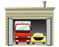 Garage with car. The Open garage with two cars inwardly.Vector illustration Stock Image