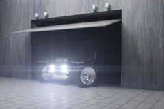 Garage with car side vector illustration