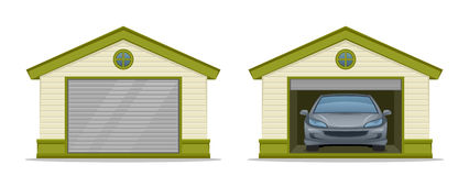 Garage with car. On a white background