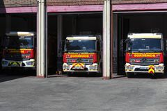 Garage of cars and equipment of the city fire department. Stock Images