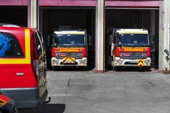 Garage of cars and equipment of the city fire department. Royalty Free Stock Photos