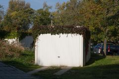 Garage with climbing plant Stock Photography