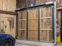 Garage with closed door Royalty Free Stock Images