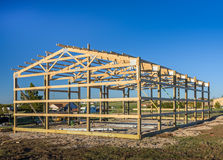 Garage construction in suburbia, USA. Wood, wooden roof truss system. Suburban building. Garage construction, USA. Wood, wooden roof truss system. Suburban Royalty Free Stock Photo